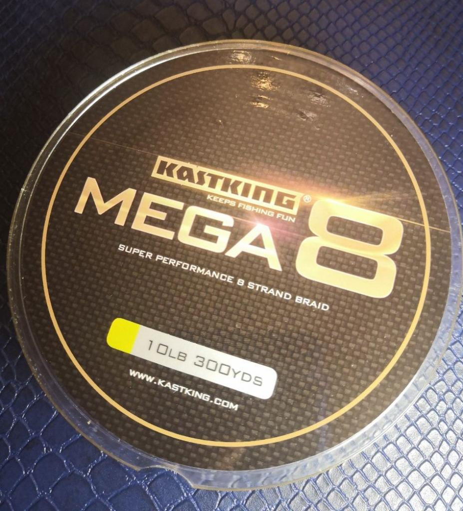 Kastking MEGA 8,  0.14 мм, 8-ми жильный PE, 274 метра, жёлтый.